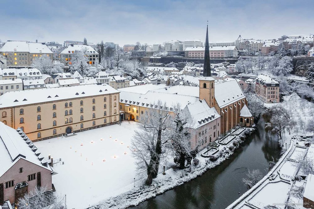 Winter in Luxembourg - Luxembourg's Grund with its Abbey of Neumunster on a Winter morning with snow - Silent Valley