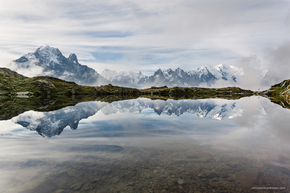 Alps - France - View on the Mont Blanc and the other Needles of the French Alps - Clouded Mirror