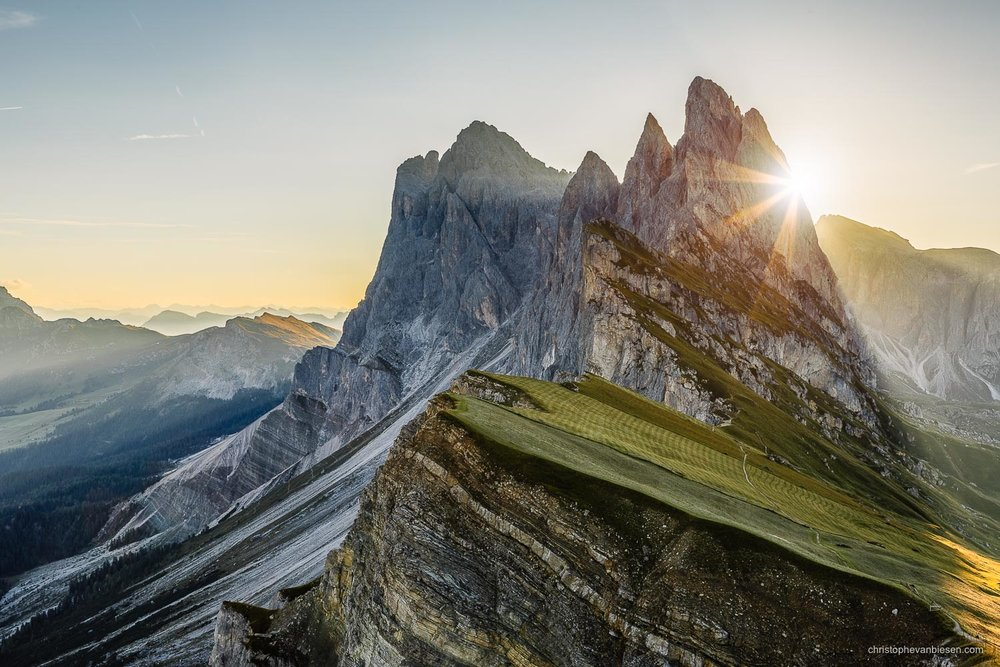 Dolomites - Italy - Sunrise over the peaks of Seceda in the Val Gardena in Italy's Dolomites. - Light Breaker
