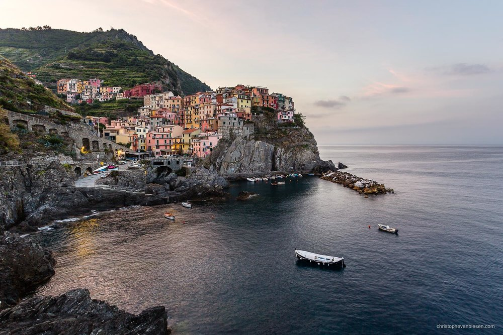 Manarola - Italy - Dawn in the village of Manarola in Cinqueterre, Italy - Cliffs of Color