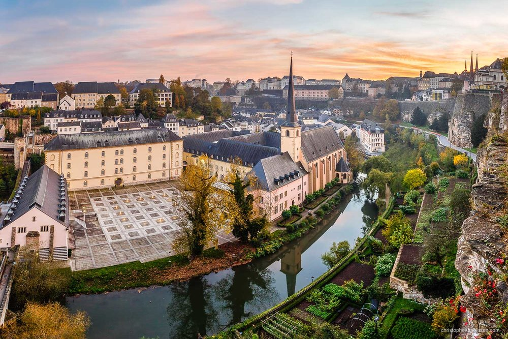 Luxembourg City - Sunset over Luxembourg City's Grund neighbourhood during Autumn - Golden Season