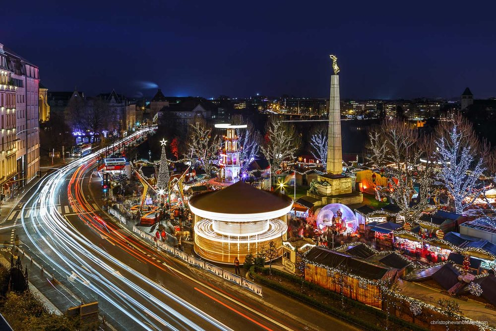 Christmas in Luxembourg - Christmas market on Place de la Constitution in Christmas in Luxembourg - Season's Greetings