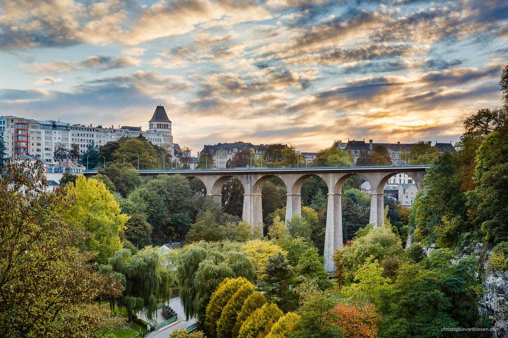 Autumn in Luxembourg - Sunset over Luxembourg's Petrusse-Valley and its eye-catching Old Bridge, also known as the Passerelle or the Viaduct - The Old Bridge