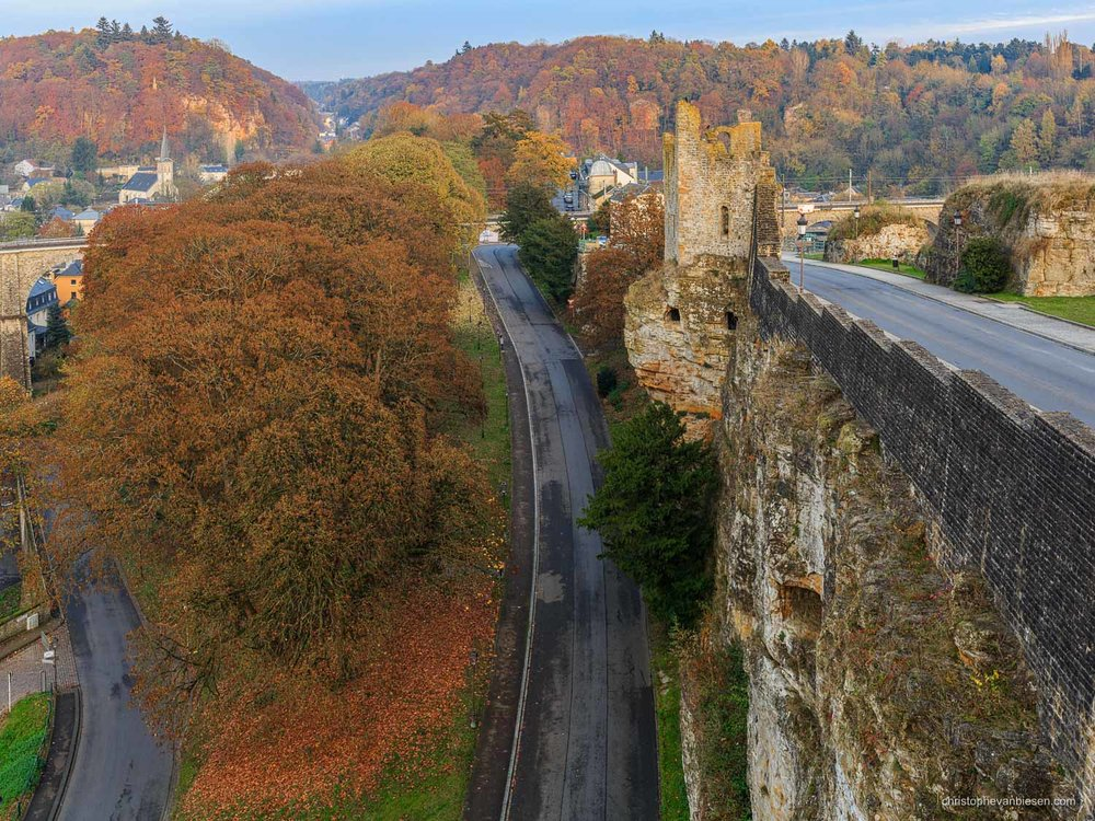 Autumn in Luxembourg - Autumn in Luxembourg City along the Hollow Tooth Tower and the ramparts of the Casemates - The Tower above the Fire