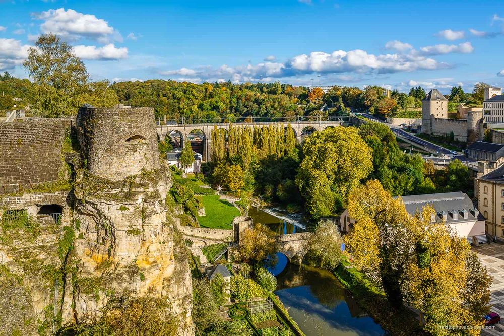 Autumn in Luxembourg - Luxembourg's Rocher du Bock overlooks the Grund neighbourhood and the Alzette river - Ancient Overlook