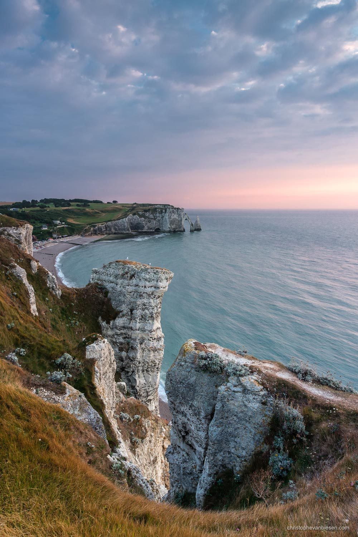 Normandy - France - Sunset over the alabaster coast in Étretat, Normandy, France - Impending Storm