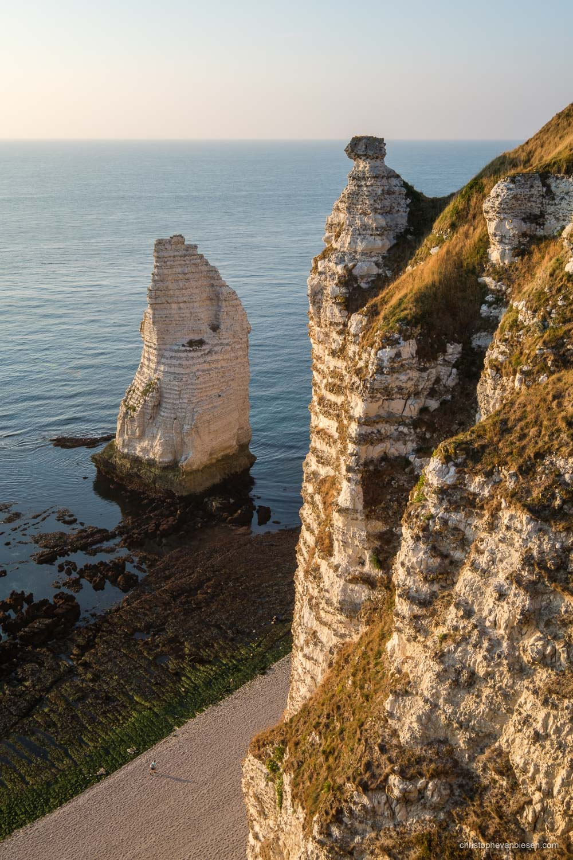Normandy - France - Sunset over the alabaster coast in Étretat, Normandy, France. - L'Aiguille d'Étretat