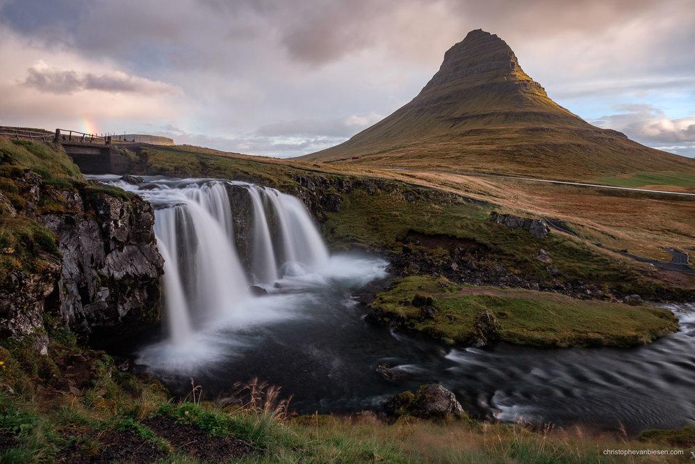 Kirkjufell - Iceland - Kirkjufellfoss on the Nortwestern peninsula in Iceland - The Mountain shaped like an Arrow Head