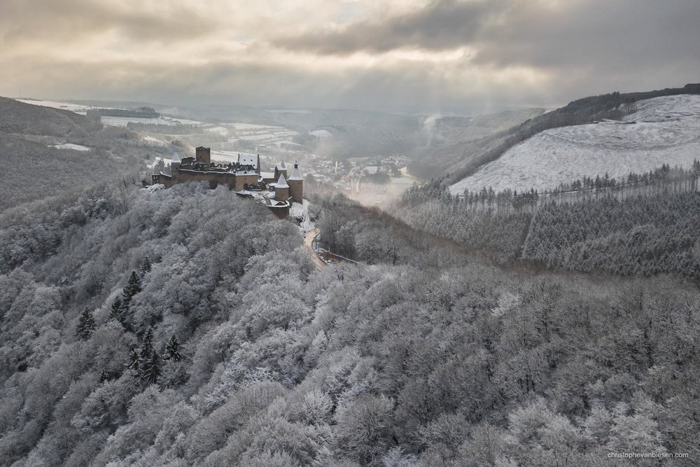 Luxembourg - Bourscheid castle in the Grand-Duchy of Luxembourg during winter - Frozen Kingdom