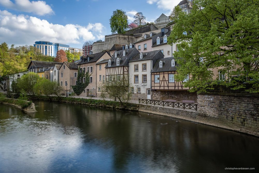 Luxembourg City - Riverside promenade along the Alzette in the Grund neighbourhood in Luxembourg City - Quiet Waters