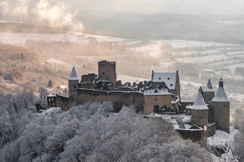 Bourscheid Castle in Winter - Luxembourg - Bourscheid castle in the Grand-Duchy of Luxembourg during winter - Dawn in the North