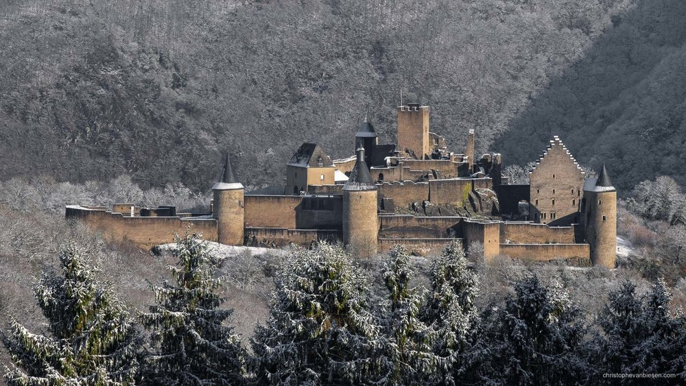 Bourscheid Castle in Winter - Luxembourg - Bourscheid castle in the Grand-Duchy of Luxembourg during winter - Fortress of the Frozen Valley