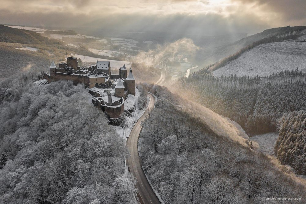 Bourscheid Castle in Winter - Luxembourg - Bourscheid castle in the Grand-Duchy of Luxembourg during winter - Northern Kingdom