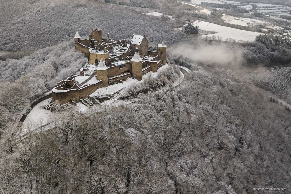 Bourscheid Castle in Winter - Luxembourg - Bourscheid castle in the Grand-Duchy of Luxembourg during winter - The Hilltop