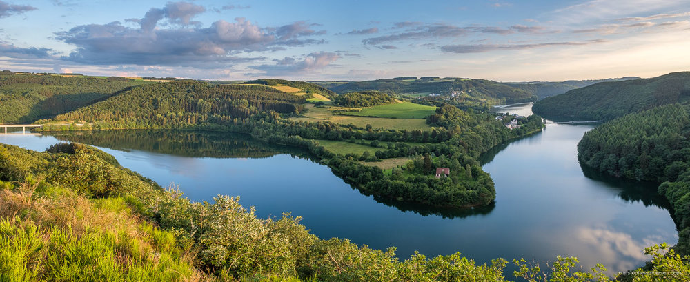 Luxembourg - Panoramic view over the Upper-Sûre Lake in northwest Luxembourg - Meanders of the Upper-Sûre