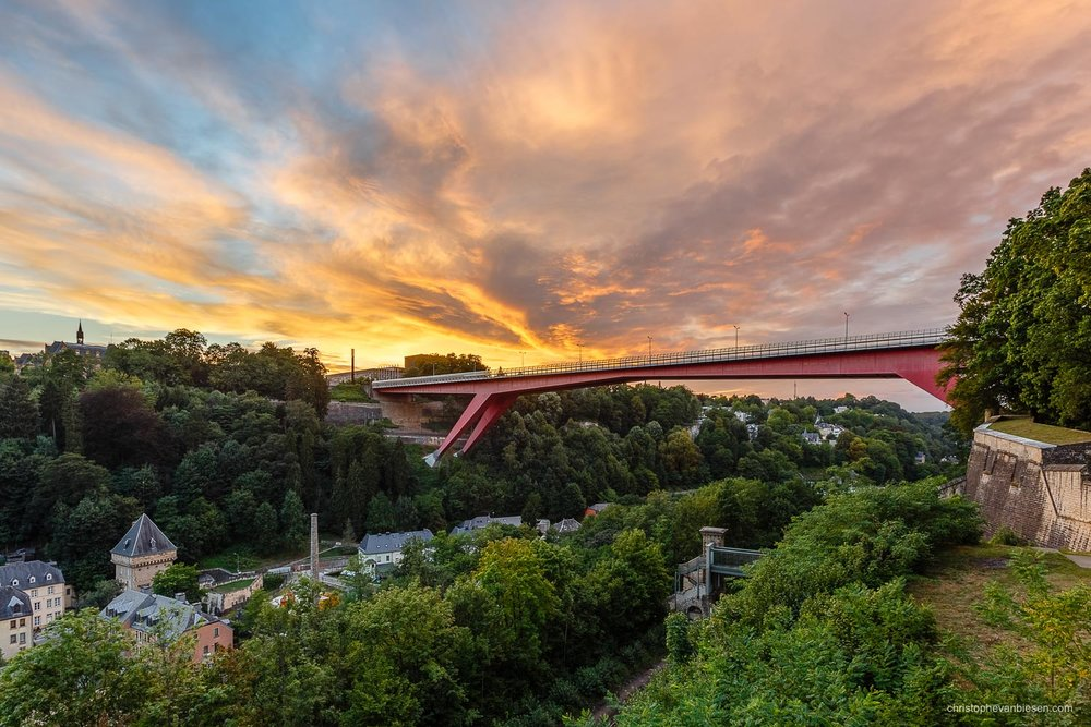 Top 25 photos made in Luxembourg - Sunset over the Red Bridge