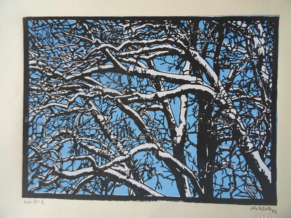 135-1, winter trees, 21x30 cm, 3-plate lino, 80 €