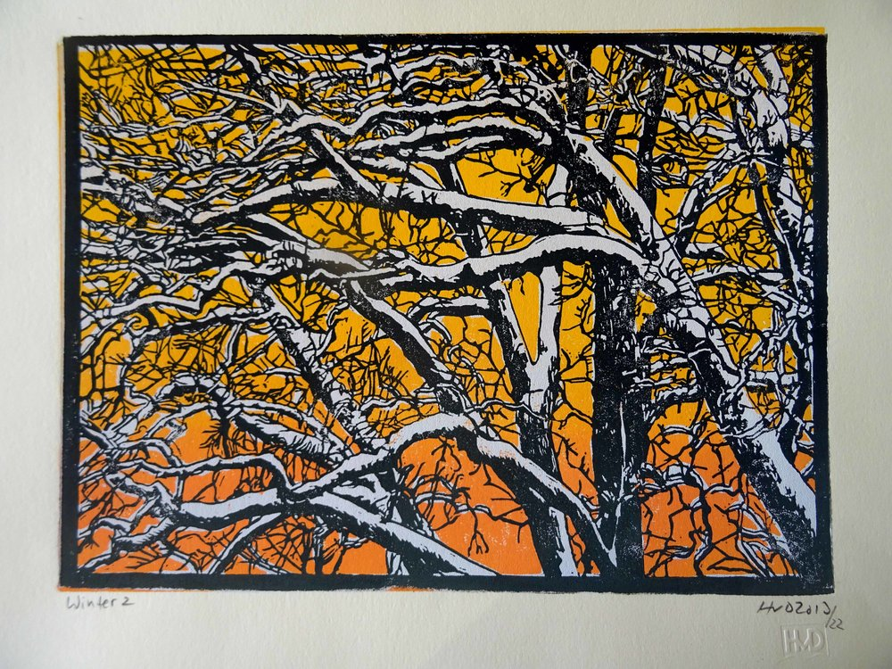 135-2, winter trees, 21x30 cm, 3-plate lino, 80 €