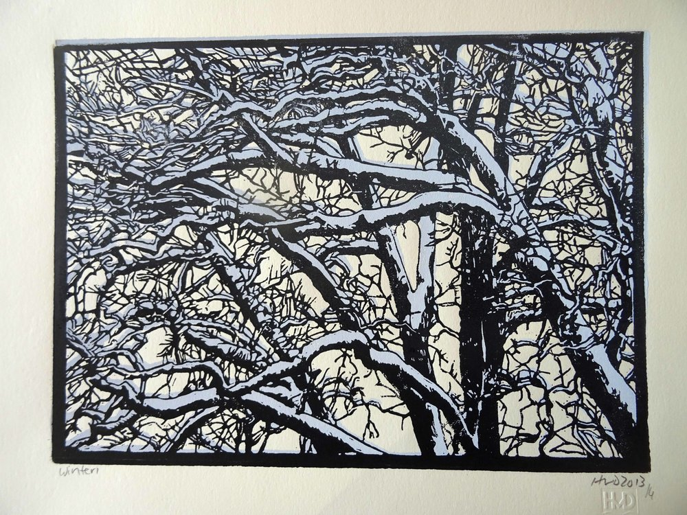 135-3, winter trees, 21x30 cm, 2-plate lino, 60 €
