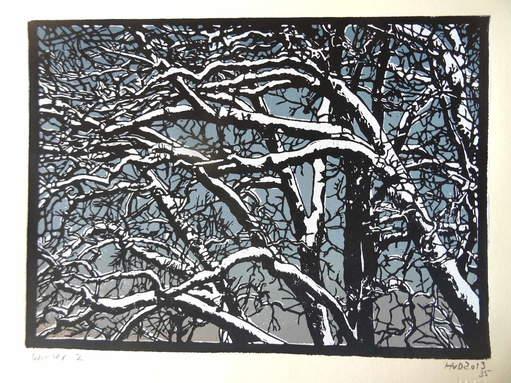 135-4, winter trees, 21x30 cm, 3-plate lino, 80 €