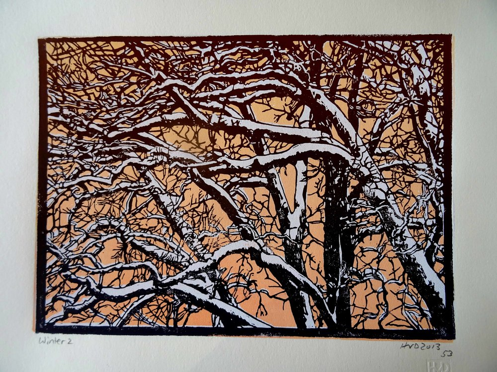 135-5, winter trees, 21x30 cm, 3-plate lino, 80 €