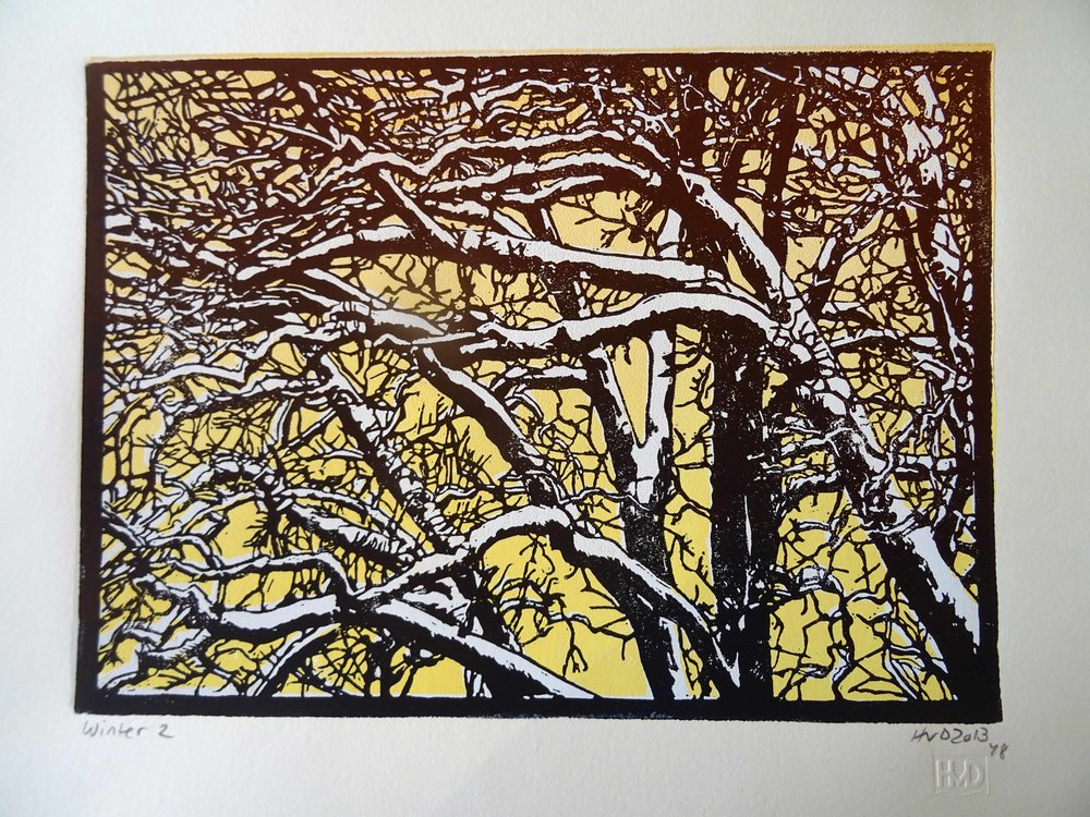 135-6, winter trees, 21x30 cm, 3-plate lino, 80 €