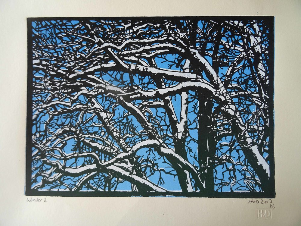 135-7, winter trees, 21x30cm, 3-plate lino, 80 €