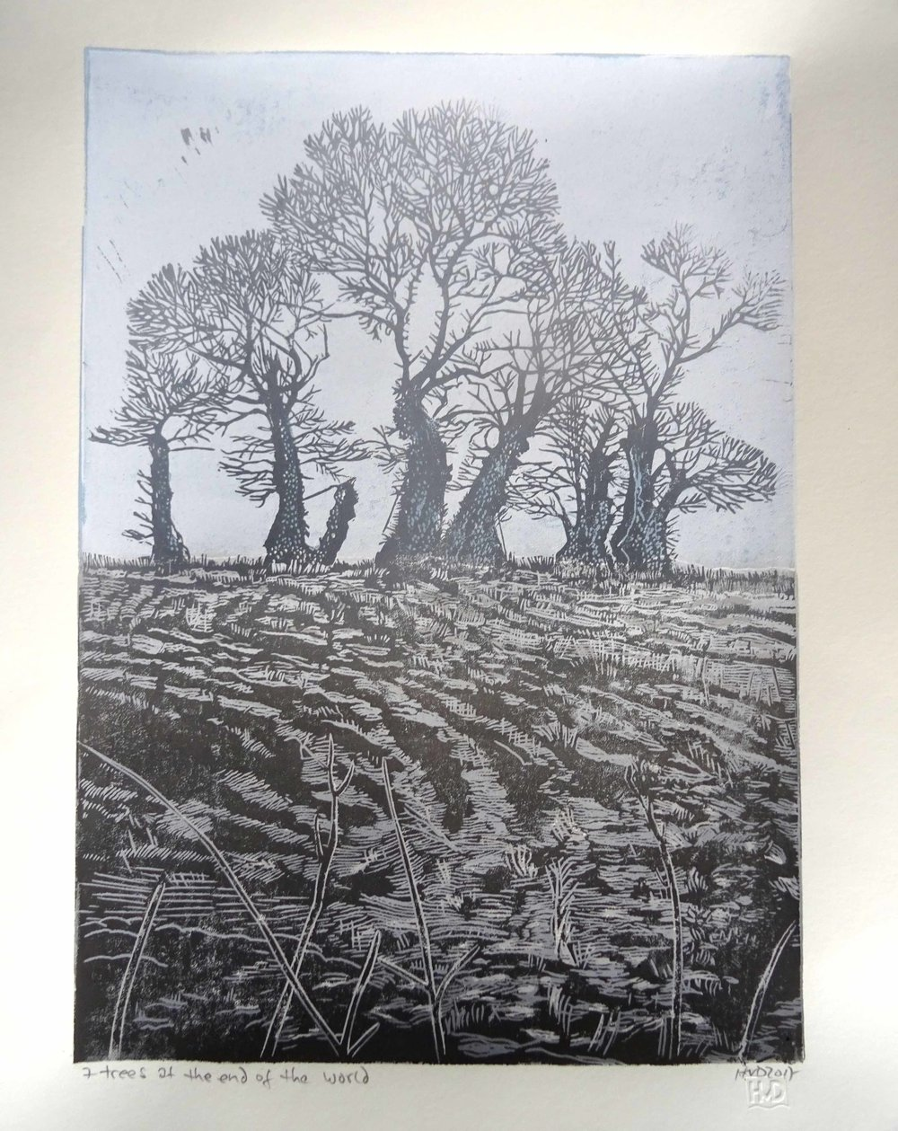 208, 7 trees at the end of the world, 42x30 cm, 3-plate lino