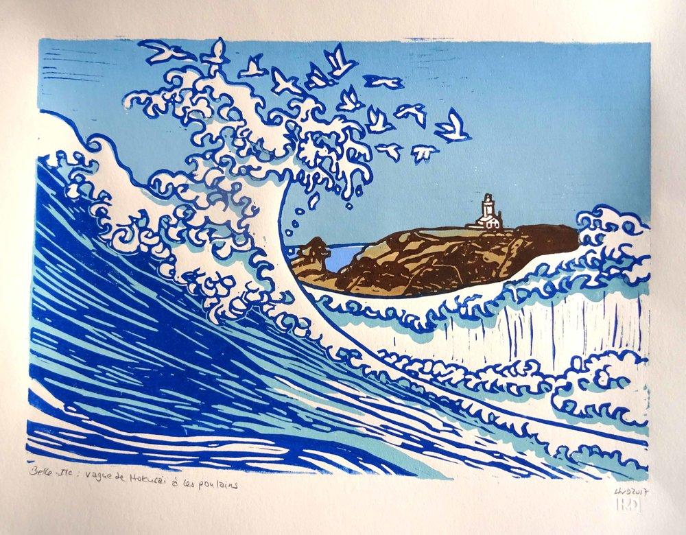 224 - vague de Hokusai à Les Poulains, 30x42 2-plate lino, 80 €