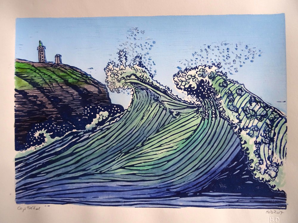 256 - twin wave at Cap Fréhel, 30x42 cm, 2-plate lino, 80 €