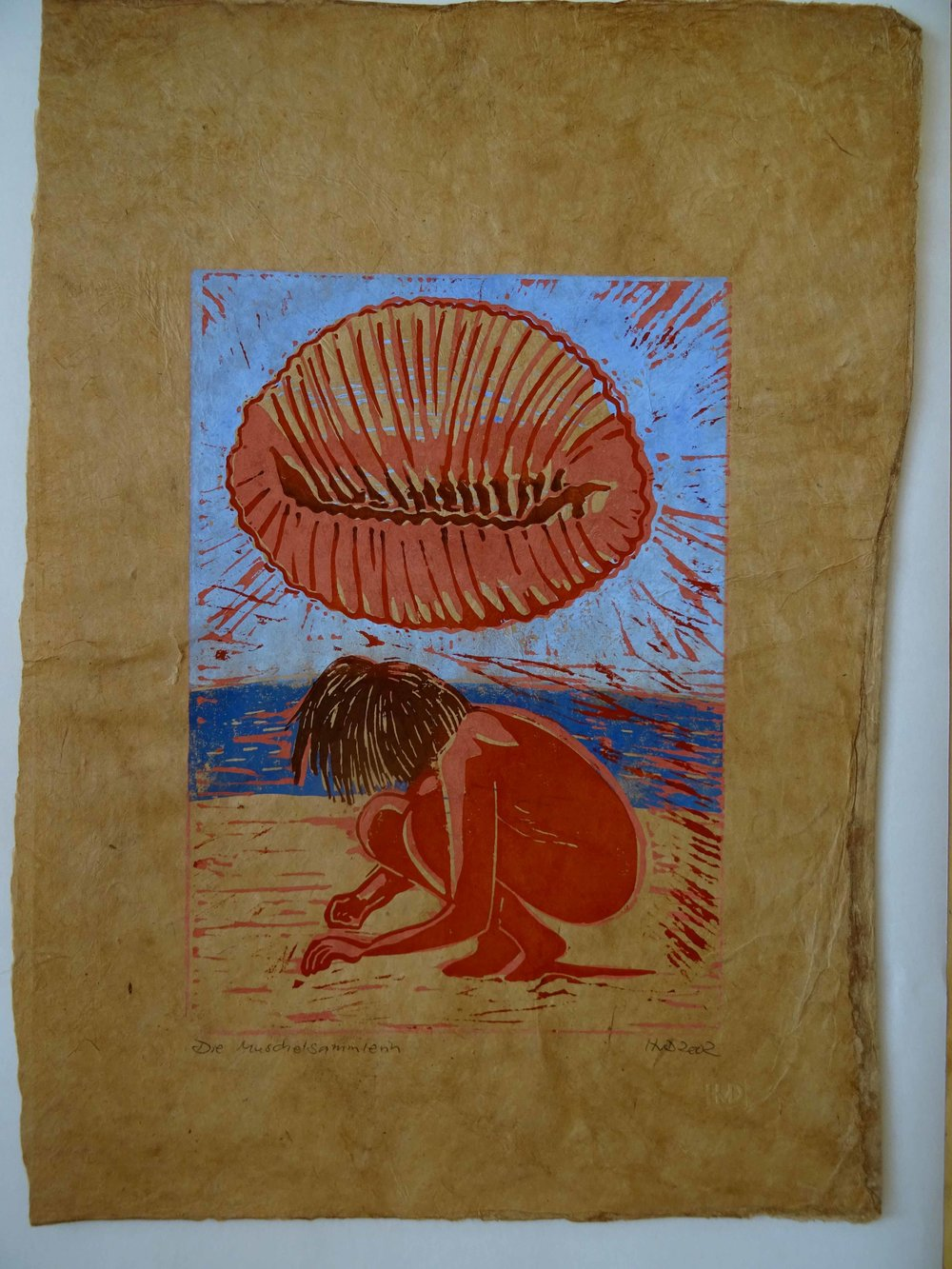 58 Muschelsammlerin, 30x21 cm, 4-plate lino on himalaya paper, 80 €