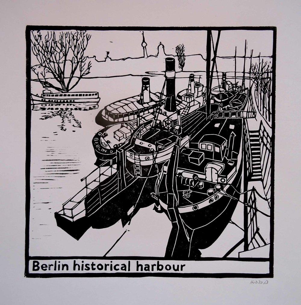 125 - historischer JHafen Berlin, 29x29 cm, lino, 60 €