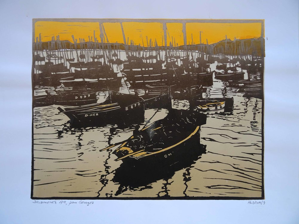 89 - Douarnenez 1912, 2-plate lino 30x40 cm, 140 €