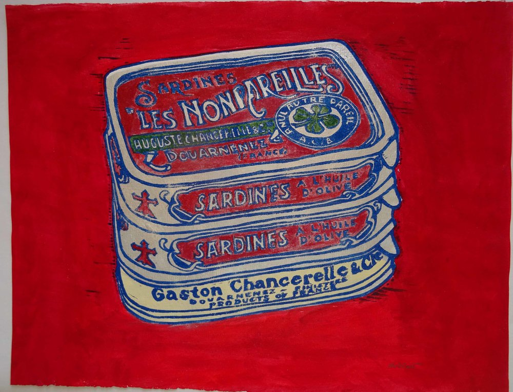 88 - Boites de l'usine rouge, coloured 2-plate lino 31x35 cm, 120 €