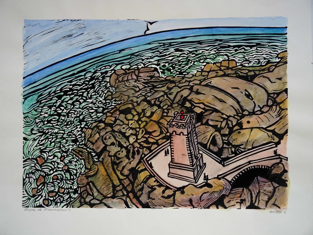101 - Phare de Ploumanac'h, coloured lino 30x42 cm, 100 €