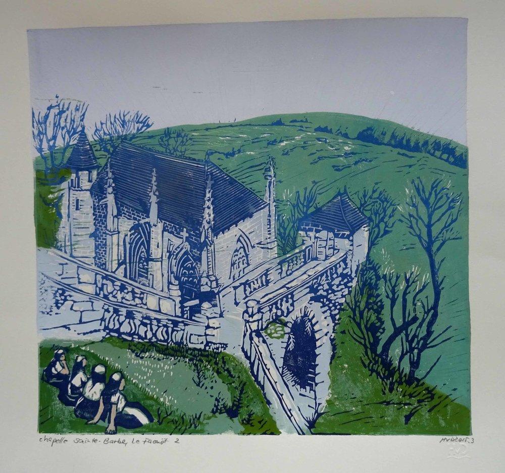 195 - Chapelle Sainte-Barbe, Le Faouet, 4-plate lino 30x32 cm, 100 €
