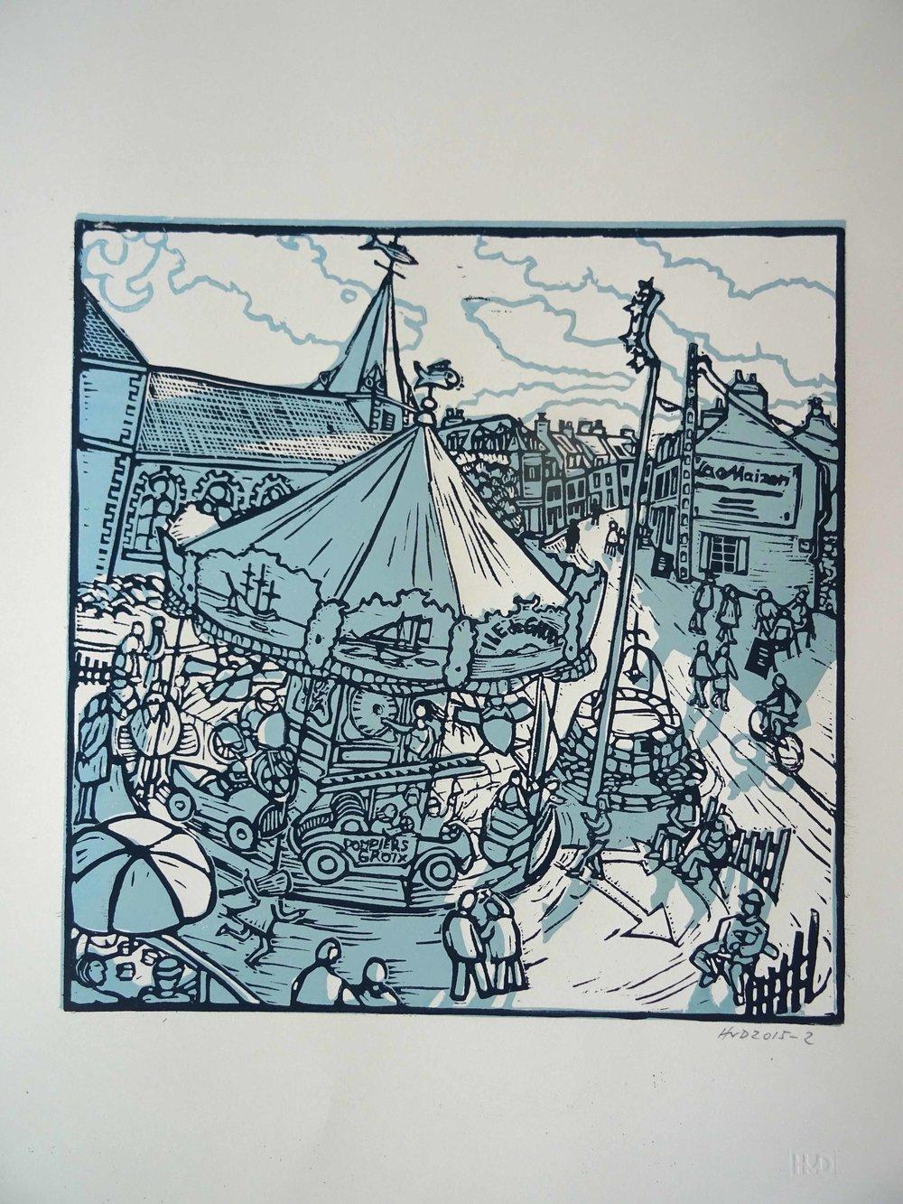 152 - Manège de Groix, 2-plate lino 31x30 cm, 80 €