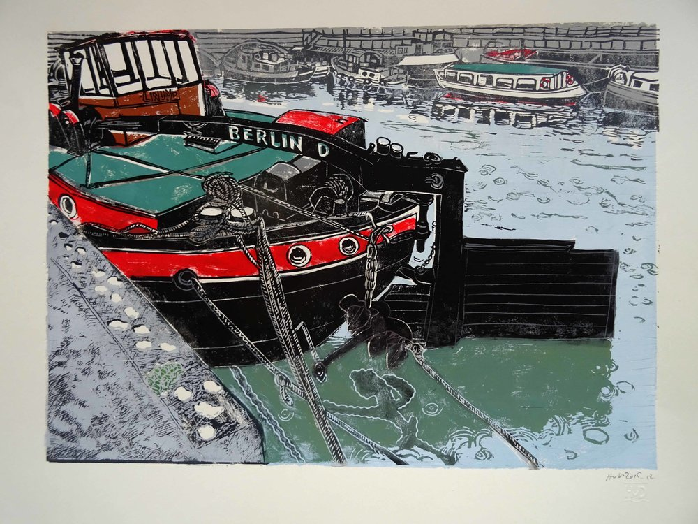 203 - Berlin boates, 3-plate lino 30x42 cm, 120 €