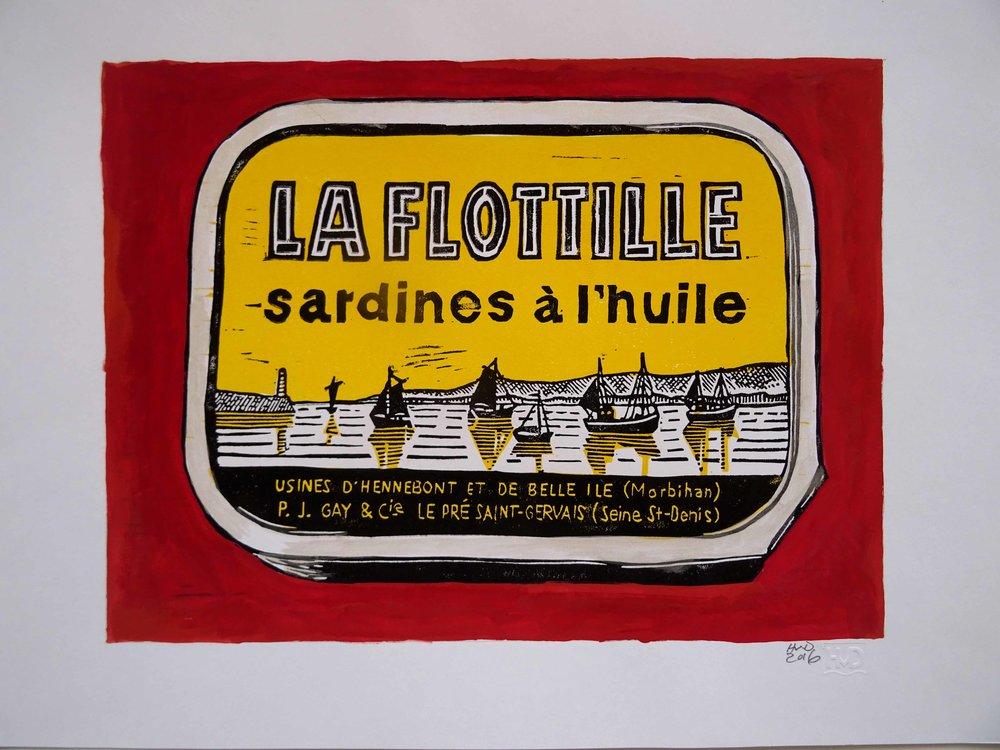 221 - La Flotille, 2-plate lino 21x30 cm, 70 €