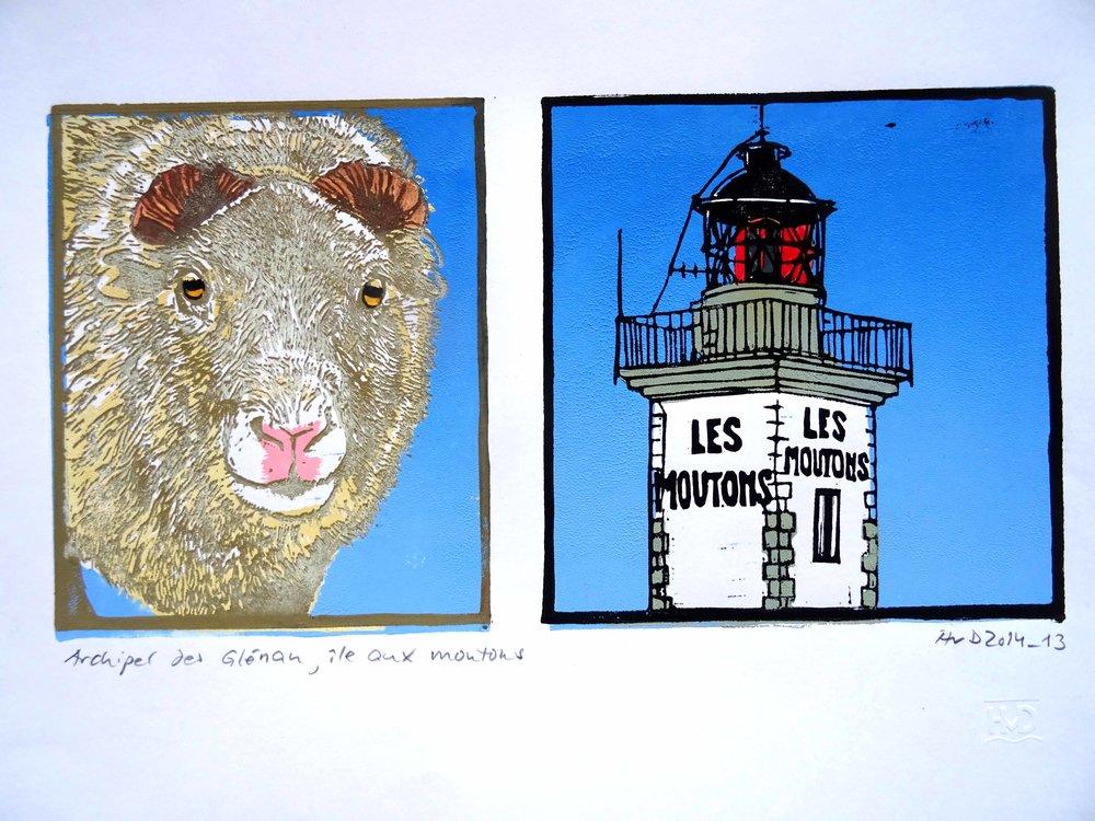 148 - Ile aux Moutons, 3-plate lino 15x30 cm, 100 €