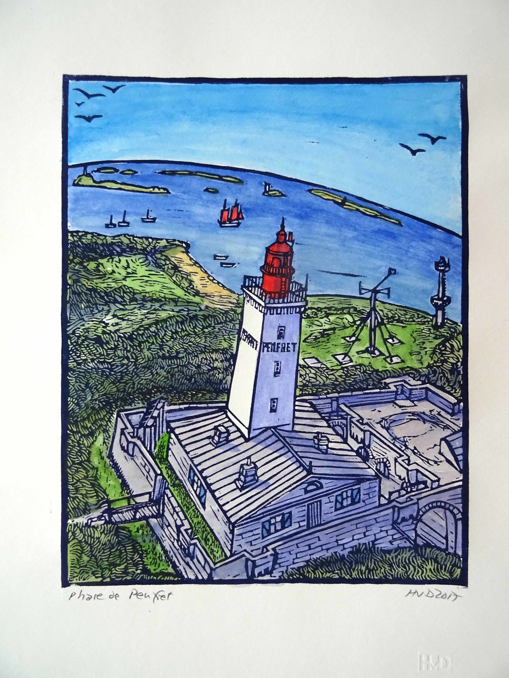 147 - Phare de Penfret, coloured lino, 29x30 cm, 100 €