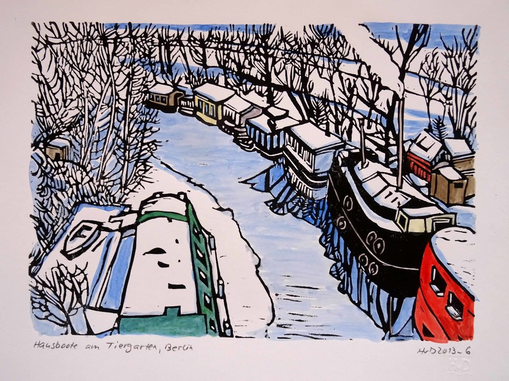 122 - Hausboote am Tiergarten, coloured lino 21x30 cm, 80 €