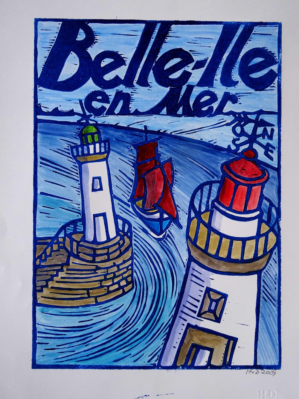 103 - Belle-Isle, coloured lino 30x21cm, 70 €