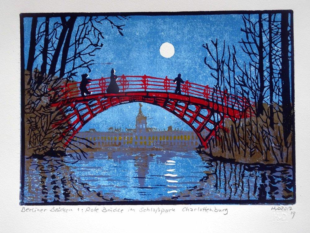 240 - Rote Brücke Schloß Charlottenburg Berlin, nigh view, 4-plate lino 21x30cm, 100 €