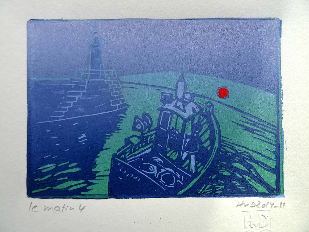 158 - Matin 4, 3-plate lino, 10,5x15 cm, 60 €