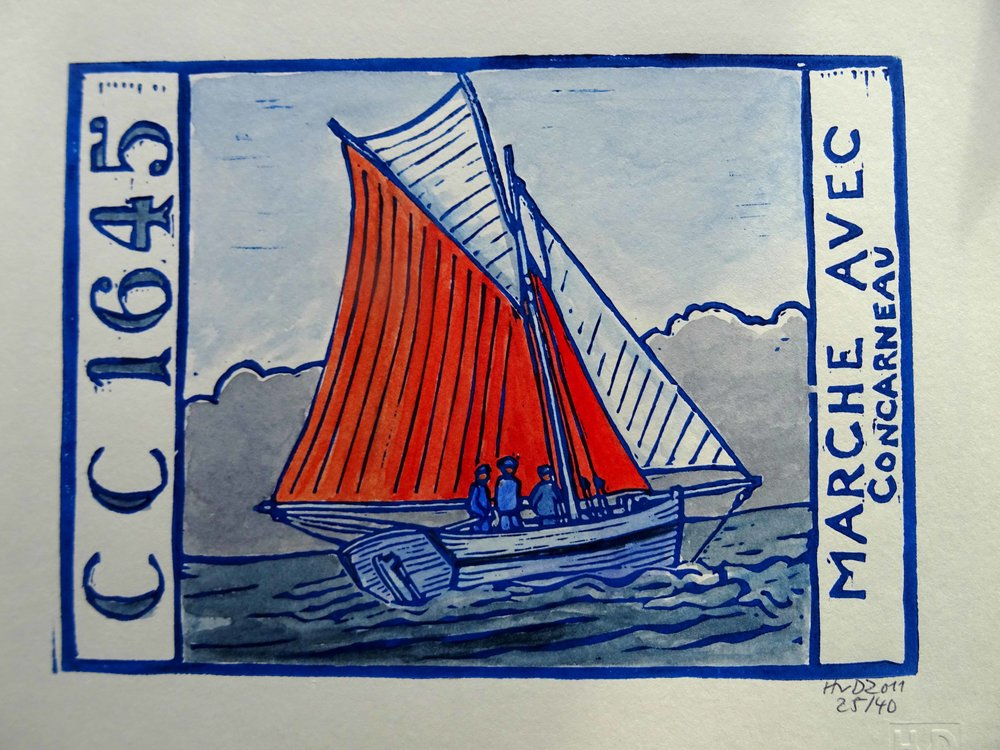 67 - Marche avec, coloured lino 15x20 cm, 50 €
