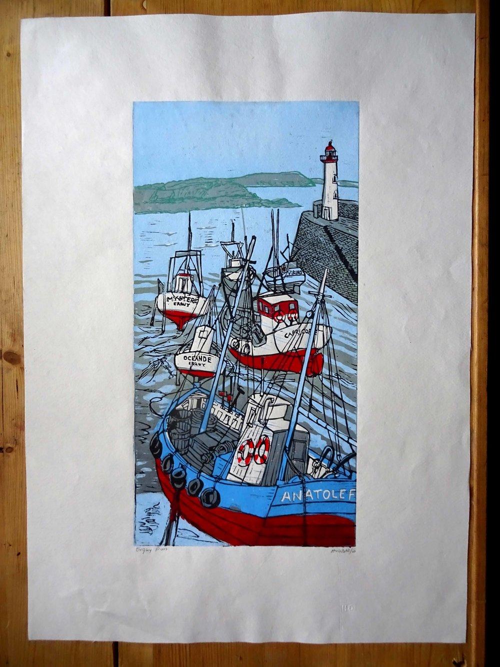 104 - -Erquy, 3-plate lino 60x30 cm, 200 €