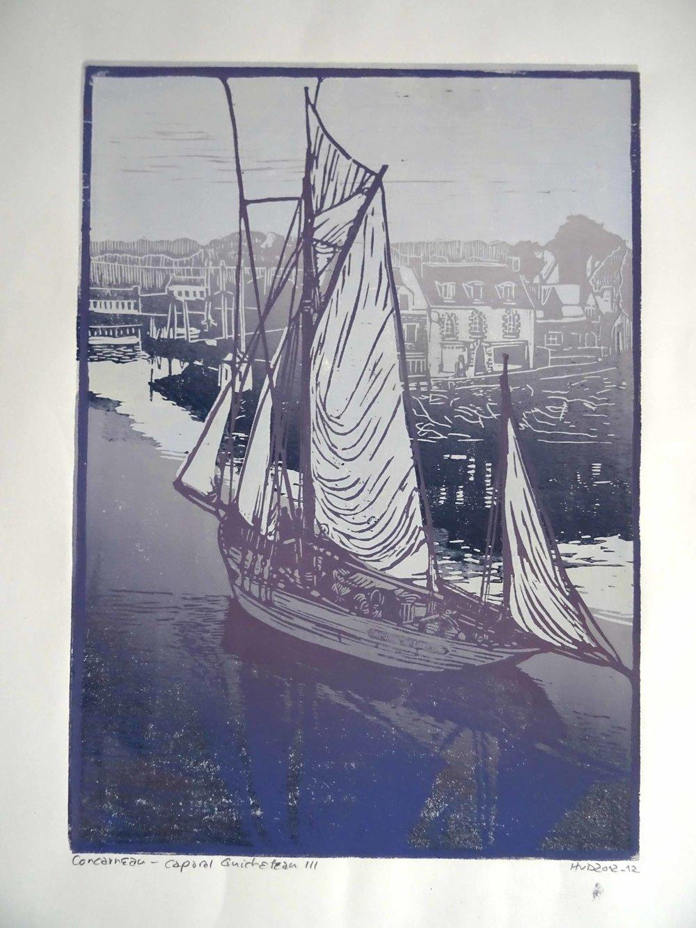 102 - Caporal Guicheteau, 2-plate lino 42x30 cm, 120 €