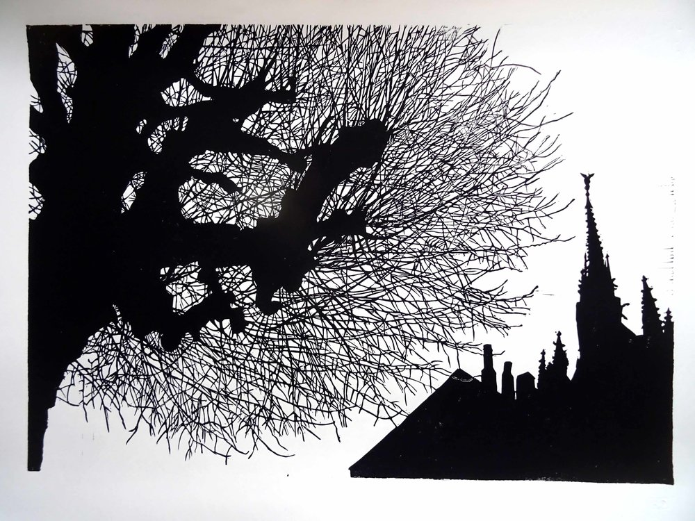 207 - willow at Mont St. Michel, lino 42x60 cm, 80 €