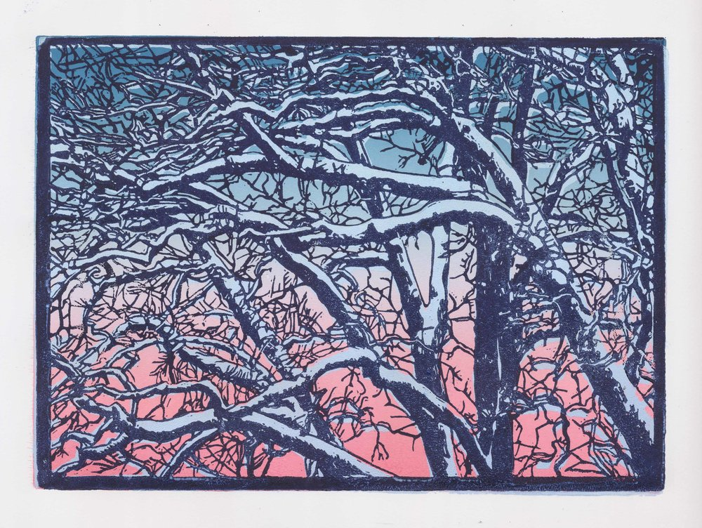135 - winter trees, 3-plate lino 21x30 cm on 250 g clairefontaine multi techniques paper, 80 €